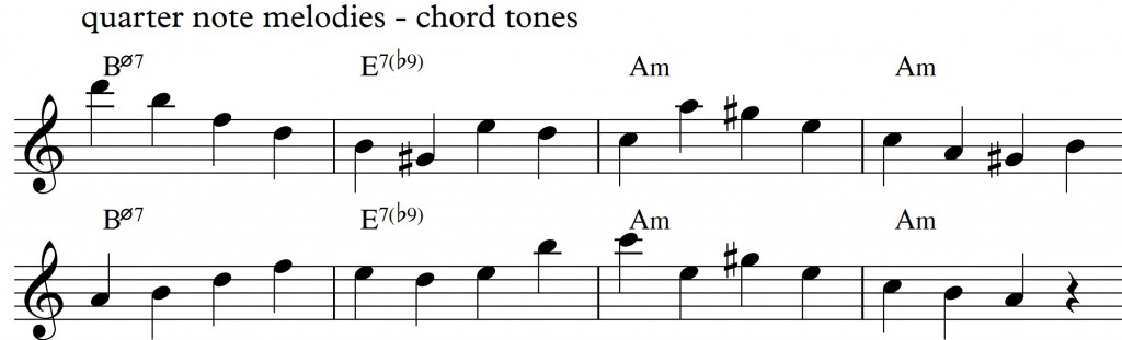 Diatonic approach 4 - minor II-V-I_0002 - quarternote melody - chord tones2