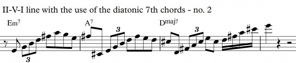 Diatonic Approach 3 Diatonic 7th chords on a II-V-I in D_no2