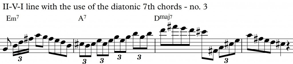 Diatonic Approach 3 Diatonic 7th chords on a II-V-I in D_no3
