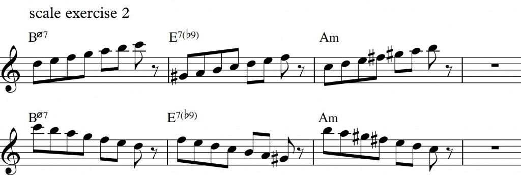 Diatonic approach 4 - minor II-V-I_0001 - scale exercise 2