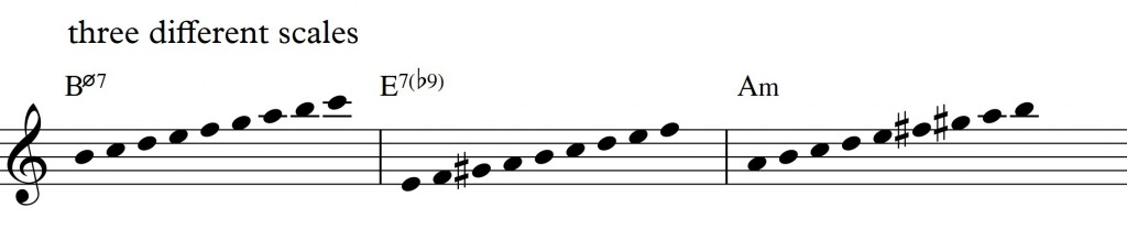 Diatonic approach 4 - minor II-V-I_0001 - three different scales