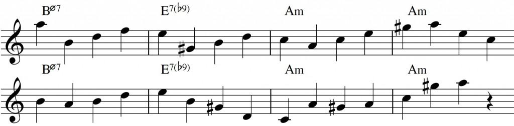 Diatonic approach 4 - minor II-V-I_0002 - quarternote melody - chord tones1
