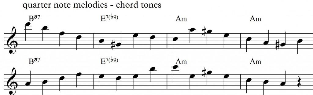 Diatonic approach 4 - minor II-V-I_0002 - quarternote melody - chord tones2