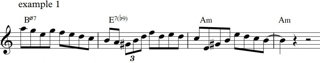 Diatonic approach 4 - minor II-V-I_example1