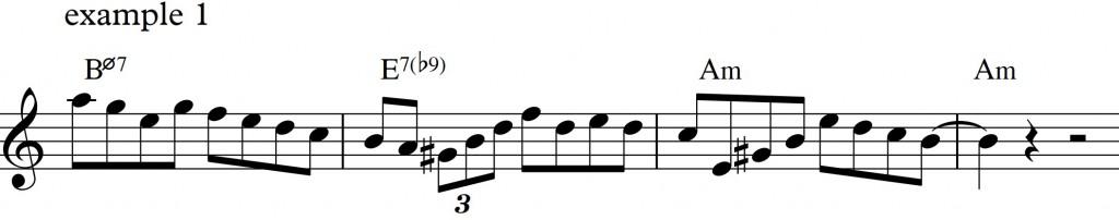 Diatonic approach 4 - minor II-V-I_example1