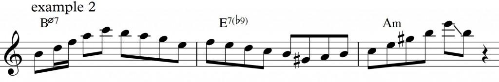 Diatonic approach 4 - minor II-V-I_example2