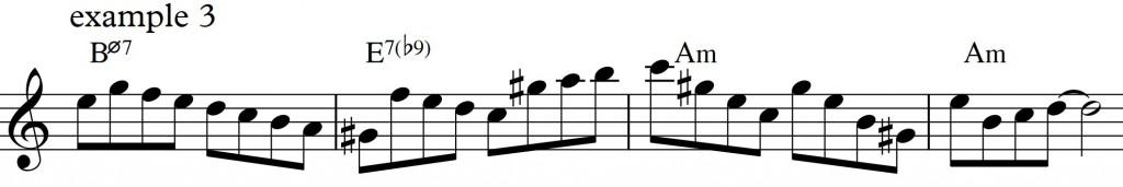 Diatonic approach 4 - minor II-V-I_example3