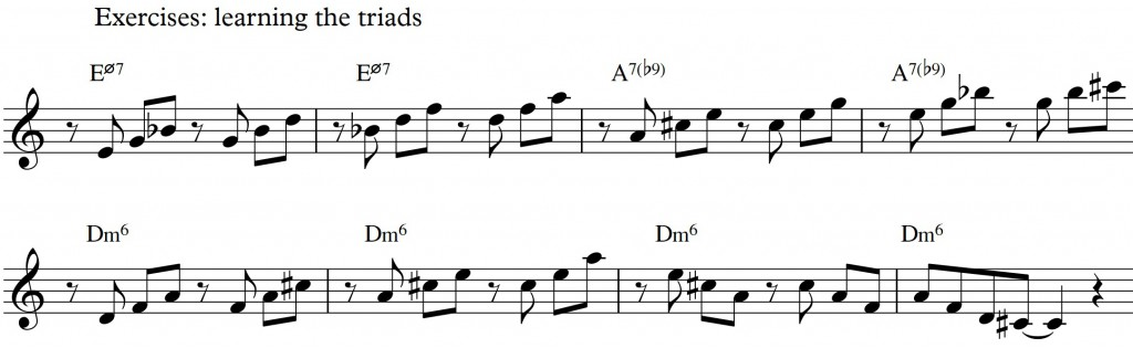 Diatonic approach 5 - minor II-V-I - diatonic triads_exercise triads 1