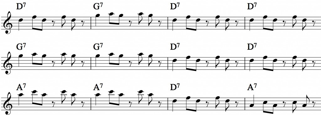 Blues - with a pentatonic scale_0013 groups+form exercise2
