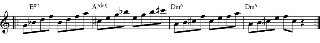Diatonic approach 6 - minor II-V-I - diatonic 7th chords_3rd+5th til 9+11