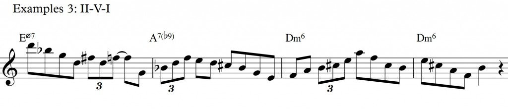 Diatonic approach 6 - minor II-V-I - diatonic 7th chords_example 3