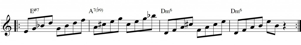 Diatonic approach 6 - minor II-V-I - diatonic 7th chords_root+3rd til 7+9